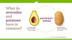 Avocado and potatoes have more in common that you might know! 🤩 Potato Nutrition, Pear, Avocado, Potatoes, Fruit, Food, Lawyer, Potato, The Fruit