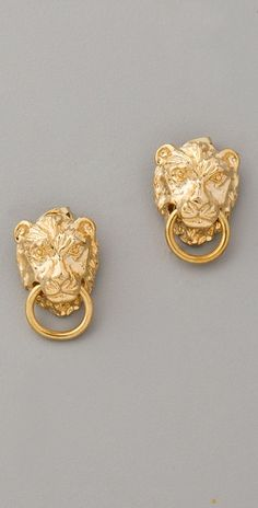 "Fallon Jewelry Gia   Lion Stud Earrings  Literally ""door knocker"" earings. Ha."