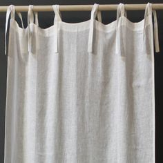 Attractive Pom Pom At Home Tie Top Linen Voile Curtain Panel @Layla Grayce