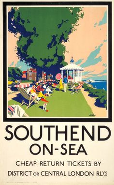 Essex - Southend-on-Sea : cheap Return tickets by District or Central London Railways (Frank Newbould) Posters Uk, Railway Posters, Poster Prints, Art Prints, British Travel, British Seaside, British Isles, Travel Uk, Ireland Travel
