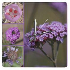 Purple Violet Pink Flowers Collage Wallclocks $26.95