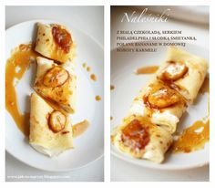 Naleśniki z kremem mascarpone i bananami w karmelu/ Pancakes with mascarpone cream and bananas in caramel