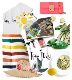 """""""Sorrento Travel Outfit"""" by klementina-kuzma ❤ liked on Polyvore featuring Lisa Marie Fernandez, Carolina Herrera, Rupert Sanderson, Gucci, Design Inverso, Bloomingdale's and Crate and Barrel"""