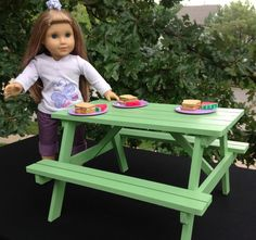 Apple Green Picnic Table American Girl Doll or by BedsandThreads