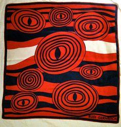 Mod Vintage Rudi Gernreich Silk Scarf  by hollywoodtreasures, $75.00