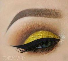 Eye Makeup, Eyeliner and Mascara Yellow Makeup, Yellow Eyeshadow, Best Eyeshadow, Eyeshadow Looks, Eyeshadow Palette, Eyeshadow Brushes, Shimmer Eyeshadow, Eye Makeup Tips, Makeup Goals