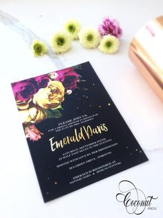 Floral + Gold Invitation // Kate Spade Bridal Shower // Black, Floral, and Gold // Invitations & Design by Coconut Press Gold Invitations, Floral Invitation, Floral Wedding Invitations, Wedding Cards, Wedding Events, Wedding Stuff, Weddings, Wedding Ceremony Seating, Personalized Stationery