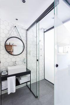 Hex Pattern - Curbless Shower - Bathroom Design - Black White - Mosaic Tile