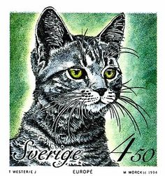 sweden, european cat, feline, house cat, scandinavia, postage stamp, philately, vintage, ephemera, breed, postage, cat art