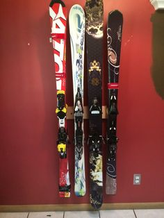 Ski Storage Rack: A 4 position Totti Button Ski Rack.  See at www.buttonskirack.com.  More and more skiers are selecting this ski rack to store skis in their garages, ski lockers, or their basement.