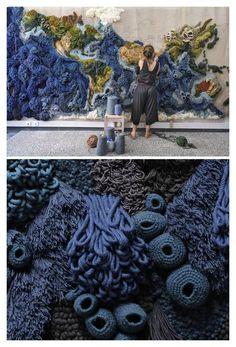 Art Fibres Textiles, Textile Fiber Art, Textile Artists, Weaving Textiles, Weaving Art, Tapestry Weaving, Textile Tapestry, Tapestry Crochet, Art Au Crochet