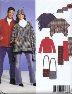 8788 Poncho Jacket Scarf Hat Bust 30 to 48 Inches New Look Unisex Sewing Unisex Poncho Cat Hat Scarf Shoulder Bag Front Zip Jacket Sewing Pattern Men Women New Look Patterns, Vintage Patterns, Cat Hat, Retro Fashion, Plus Size, Unisex, Sewing, Hats, Quilting