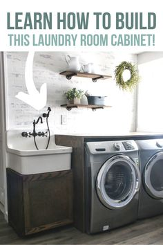 Home Remodel Do It Yourself DIY Farmhouse Sink Cabinet for Laundry Room - Making Manzanita.Home Remodel Do It Yourself DIY Farmhouse Sink Cabinet for Laundry Room - Making Manzanita Small Laundry Rooms, Laundry Room Design, Laundry Room Organization, Joanna Gaines, Farmhouse Laundry Room, Farmhouse Decor, Farmhouse Cabinets, Farmhouse Sinks, Industrial Farmhouse