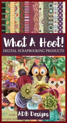 A mix of watercolor and realistic elements make this digital scrapbook collection a delight to your senses.  #WhatAHoot #ADBDesigns  https://adb-designs.com/shop/index.php?main_page=advanced_search_result&search_in_description=1&keyword=ADB-what-a-hoot