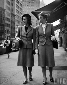 Women modeling the new American Look . US . April 1945 . Photo by Nina Leen