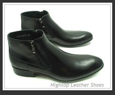 Free shipping new 2014 hightop men ankle boot full grain leather comfortable round toe black/white size 38-44 $462.50