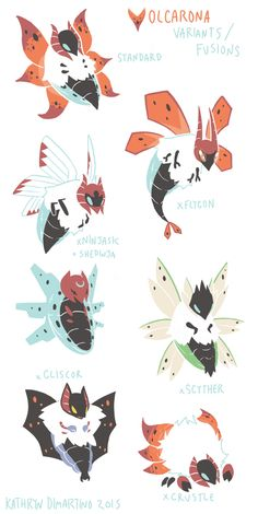 """""""Volcarona Variants/Fusions I asked tdrdesign what his favorite pokemon are (although really I should know by now) and I thought Volcarona would be fun because bug pokemon are really interesting to draw. You guys don't know how excited I. Pokemon Mix, Pokemon Fusion Art, Pokemon Fan Art, Cute Pokemon, Pokemon Stuff, Pokemon Images, Pokemon Pictures, Curious Creatures, Mythical Creatures"""