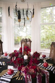 Using a fruit wedding centerpiece can be a very cheap wedding table arrangement; you can use a single variety or … Striped Wedding, Maroon Wedding, Wedding Bells, Pomegranate Wedding, Victorian Halloween, Amazing Weddings, Wedding Table Settings, Wedding Shoot, Victorian Fashion