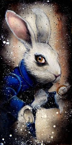 """""""How long is forever? asked Alice Sometimes just a second, replied the White Rabbit. White Rabbit Alice In Wonderland, Alice In Wonderland Illustrations, Alice In Wonderland Artwork, Alice Tim Burton, Chesire Cat, Disney Paintings, Rabbit Art, Alice Rabbit, Rabbit Hole"""