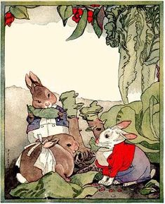 Rabbits. from 'About Bunnies' illustration by F.Y.Cory 1924
