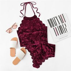 Online shopping for Scalloped Velvet Halter Top & Panty Lingerie Set from a great selection of women's fashion clothing & more at MakeMeChic. Lingerie Outfits, Lingerie Sleepwear, Women Lingerie, Nightwear, Sexy Lingerie, Lingerie Sets, Pyjama Sexy, Sexy Pajamas, Pyjamas