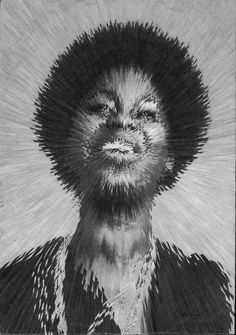 Lola Dupre - Exploding Portrait (Nina Simone - triangular slivers cut from photocopies of a portrait and then glued down.