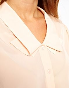 Blouse With Double Pleat Collar