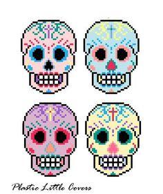 Pop Art Sugar Skull Cross Stitch Pattern by plasticlittlecovers, £2.50