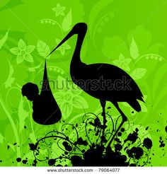 stock vector : The heron in a beak holds the child. A vector illustration