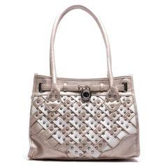 metallic silver nude white pad lock ball stud leatherette tote fashion handbag purse