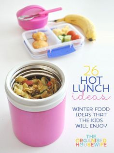 School lunches - Hot school lunches for kids - 26 hot school lunch ideas for kids to take to school in their thermos. Hot food in insulated jars are a fun alternative to sandwiches in winter. Cold Lunches, Toddler Lunches, Lunch Snacks, Healthy Snacks, Healthy Kids, Kids Healthy Lunches, Snacks Kids, Lunch Meals, Kids Lunch For School