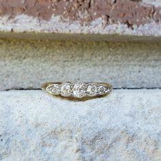 Rare Antique Old Cut Diamond 5 Stone Wedding Anniversary Band Ring in Yellow Gold & Platinum Antique Wedding Bands, Wedding Rings, Anniversary Bands, Wedding Anniversary, Antique Jewelry, Vintage Jewelry, Gold Platinum, Rare Antique, Band Rings