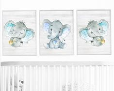 Blue Gray Elephant Wall Decor, Elephant Print, Canvas Print, Stickers Print wall art, Baby Boy Nursery Decor, Children Art set of 3