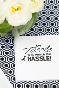 The Tassle was Worth the Hassle party napkins from @Swoozie's - Graduation Party Ideas from @Amy's Party Ideas | AmysPartyIdeas.com