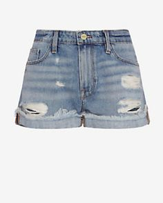 FRAME EXCLUSIVE Cuffed Destroyed Denim Short: Turnpike