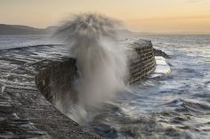 Cobb Surge - This is about the best I got from a trip to Lyme Regis this morning. The sunrise did not come to much again hey ho. Beach Waves, Ocean Beach, Lyme Regis, Jurassic Coast, A Moment In Time, Dark Skies, Marine Life, Beautiful Beaches, The Good Place