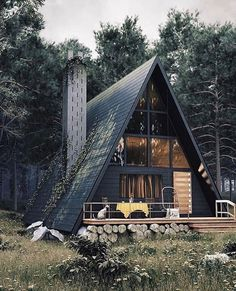 Architecture House Tiny Homes Modern Cabin with A-Frame in the Wood! A Frame House Plans, A Frame Cabin, A Frame Homes, Tiny House Cabin, Cabin Homes, Tiny Homes, Cabins In The Woods, House In The Woods, Earthship
