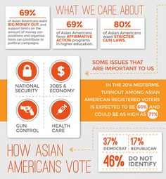 (2 o 5) Asian Americans: Is anyone paying attention to the nation's fastest growing political force?  What We Care About --69% of Asian Americans want big money out, and support limits on the amount of money corporations and organizations can contribute to political campaigns.  --69% of Asian Americans favor Affirmative Action programs in higher education.  --80% of Asian Americans want stricter gun laws.  Source: AAAJ