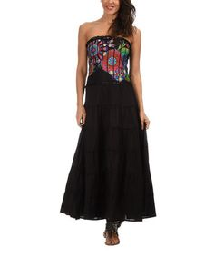 Another great find on #zulily! Black & Red Circle Strapless Maxi Dress #zulilyfinds