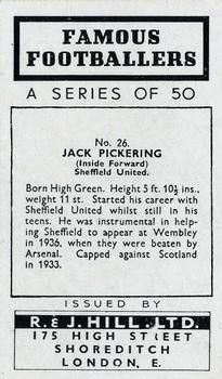 1939 R & J Hill Famous Footballers Series 1 #26 Jack Pickering Back