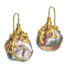 One-of-a-Kind Baroque Chinese Freshwater Pink Pearl Earrings intricately handcrafted by Lilly Fitzgerald in yellow gold and accented with two white pearl accents. Pink Pearl Earrings, Pearl Jewelry, Crystal Jewelry, Gold Jewelry, Vintage Jewelry, Fine Jewelry, Handmade Jewelry, Drop Earrings, Fancy Jewellery
