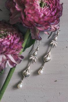 SALE Iris earrings art nouveau earrings wedding earrings