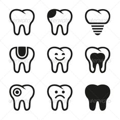 Tooth Vector Icons Set - Health/Medicine Conceptual