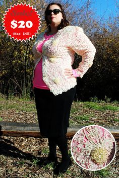 CLEARANCE  Plus Size  Vintage Cream Lace & Floral by TheCurvyElle, $20.00