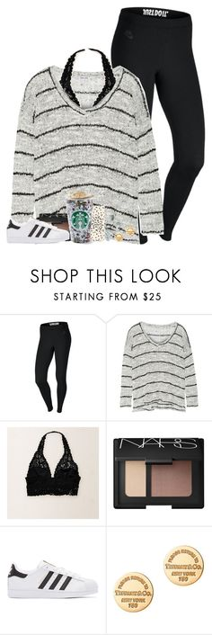 """""""Lazy Day// sorry i haven't posted in forever!!"""" by laurenmf ❤ liked on Polyvore featuring NIKE, Splendid, Aerie, NARS Cosmetics, adidas Originals, Tiffany & Co. and Kate Spade"""