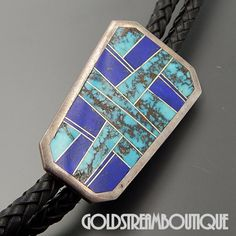 LARRY M CHAVEZ ZUNI STERLING SILVER TURQUOISE LAPIS INLAY BOLO TIE LEATHER CORD