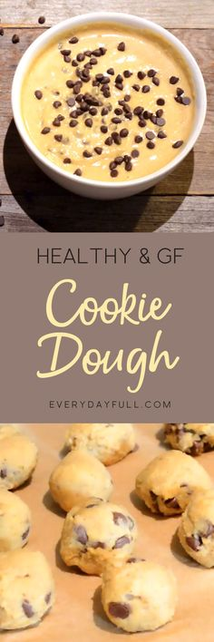 HEALTHY CHOCOLATE CHIP COOKIE DOUGH - It's not too good to be true, this cookie dough is legit! It's gluten-free, dairy-free and refined sugar-free. It can be enjoyed as a dessert dip or rolled into bites and frozen for a cold sweet treat. #cookiedough #dessert #healthy