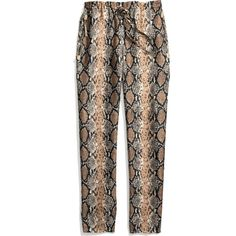 Printed Silk Python Slouchy Track Pant (14.825 UYU) ❤ liked on Polyvore featuring pants, bottoms, jeans, trousers, pantalones, python pants, silk pants, slouchy trousers, silk trousers and saggy pants