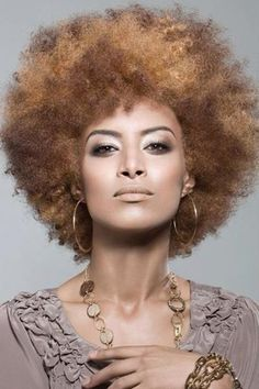 Beautifully-colored afro. I want those bronze + golden locks!