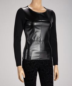 Take a look at this Black Faux Leather Ponte Long-Sleeve Top by Maison Blanche on #zulily today!